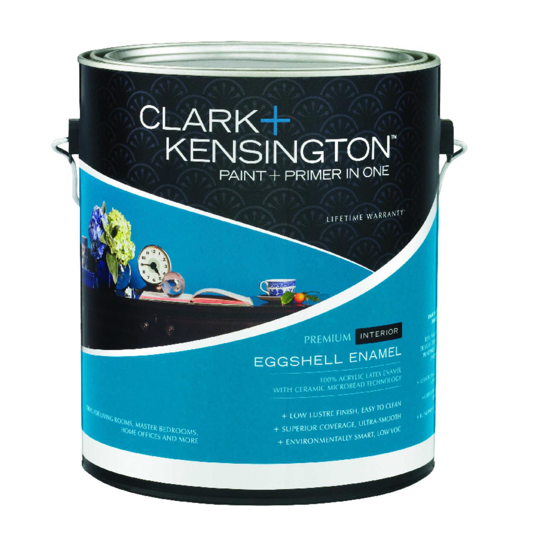 Clark kensington eggshell designer white acrylic latex paint and primer 1
