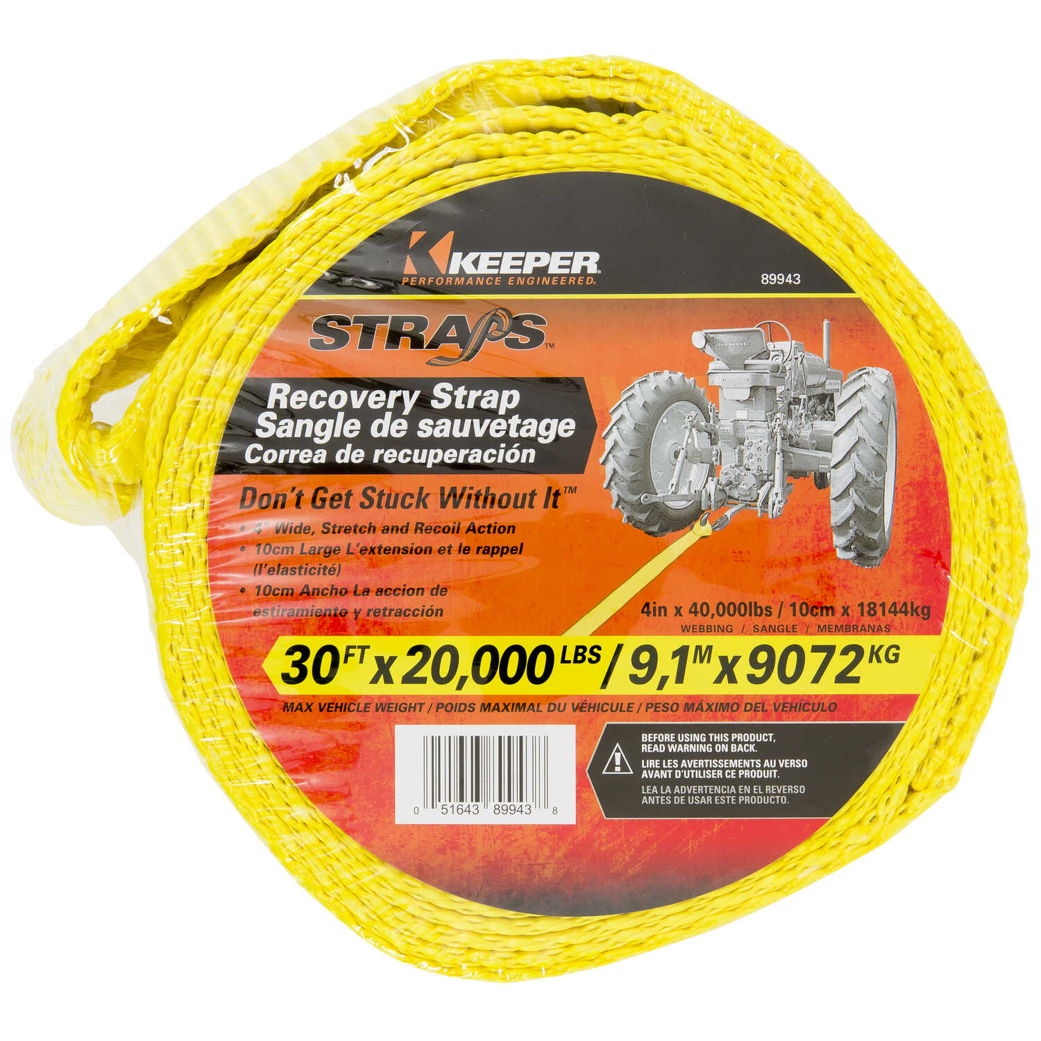 Keeper  30 ft. L Yellow  Vehicle Recovery Strap  20000 lb. 1 pk