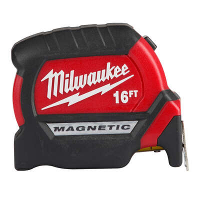 Milwaukee  16 ft. L x 1 in. W Compact Wide Blade  Magnetic Tape Measure  1 pk