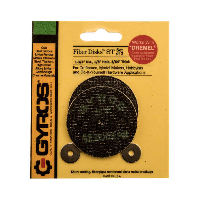 Gyros Tools  Fiber Disk Super Tensile  1-3/4 in. 1/32 in. thick  x 1/8 in.  Cutting Disc  2 pc. Fibe