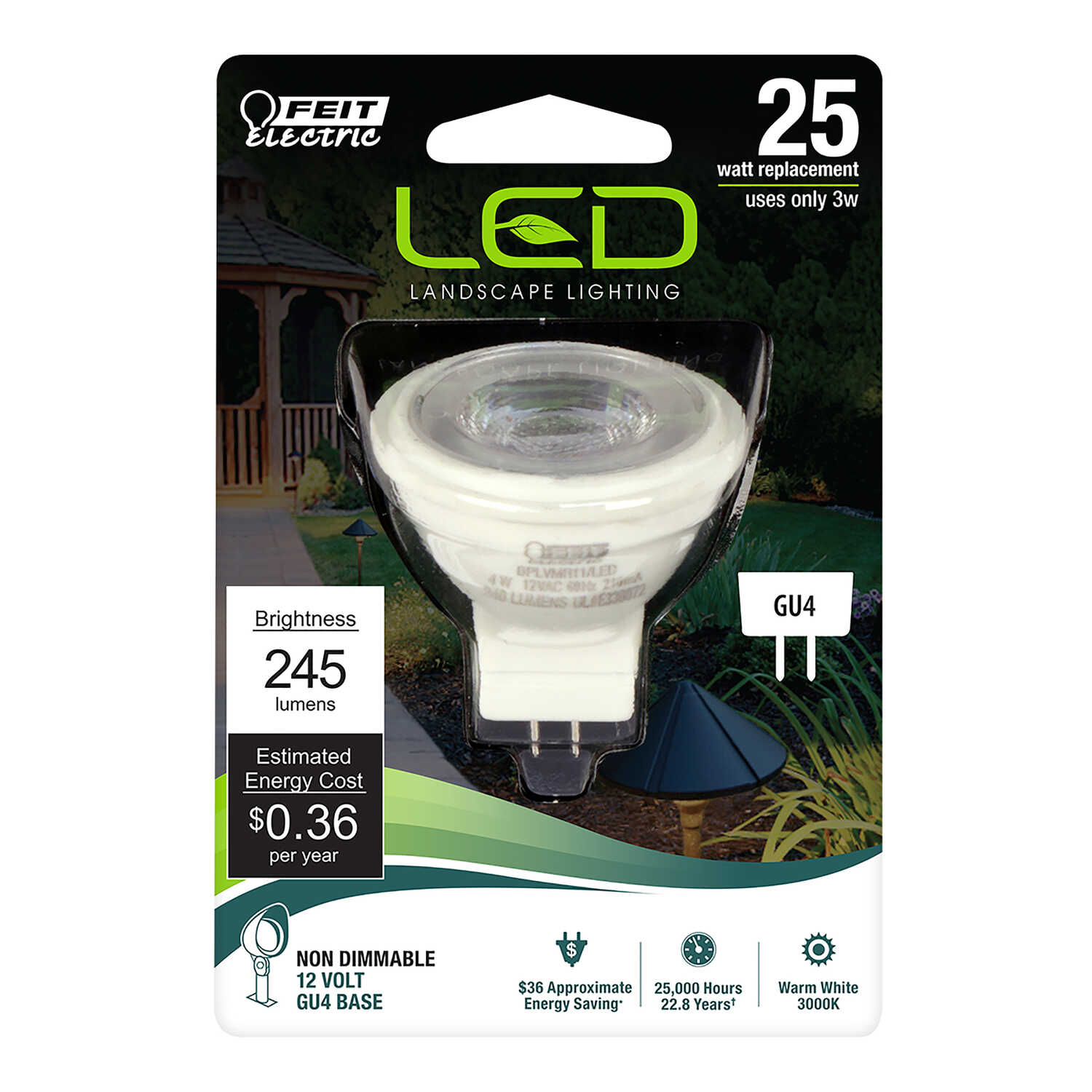 FEIT Electric  4 watts MR11  LED Bulb  240 lumens 25 Watt Equivalence Soft White  Reflector