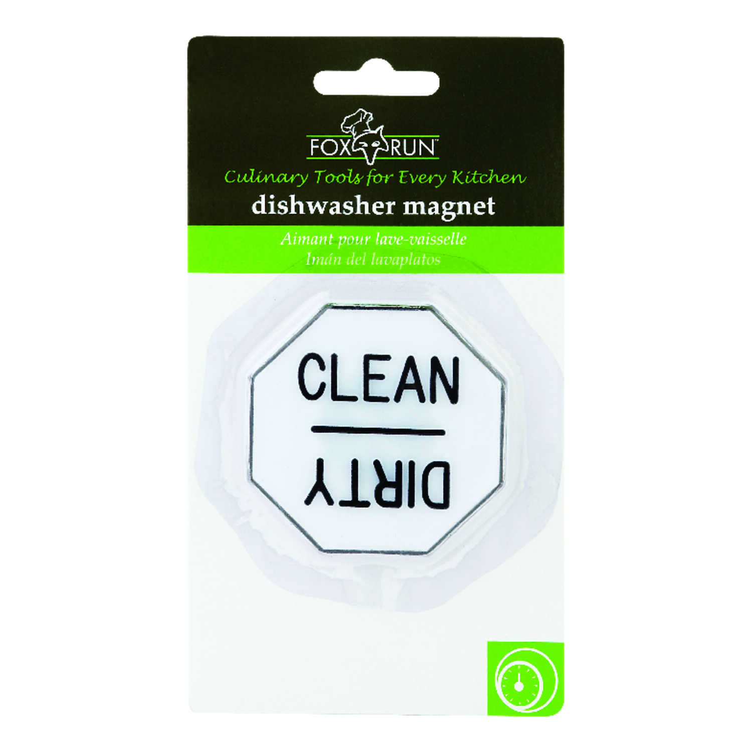 Fox Run  2-1/2 in. W x 6-3/4 in. L White/Black  Dishwasher Magnet