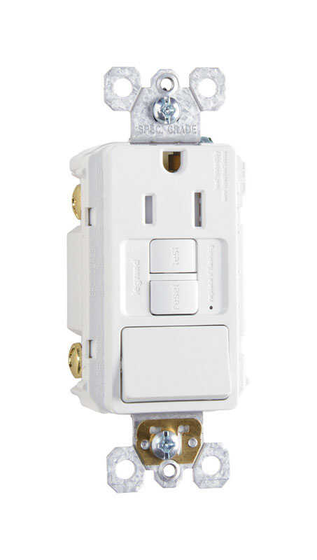 Pass & Seymour  15 amps 125 volt White  GFCI Outlet  5-15R  1
