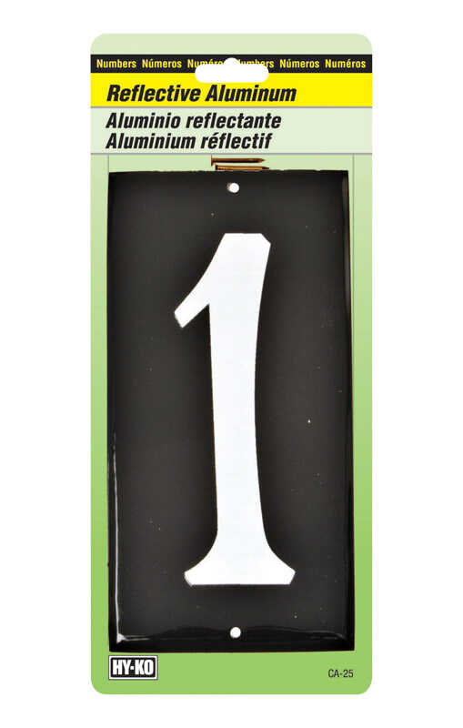 Hy-Ko  3-1/2 in. Reflective White  Aluminum  Number  1  Nail-On  1 pc.