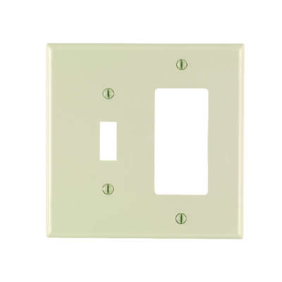 Leviton  Almond  2 gang Nylon  GFCI/Rocker/Toggle  Wall Plate  1 pk