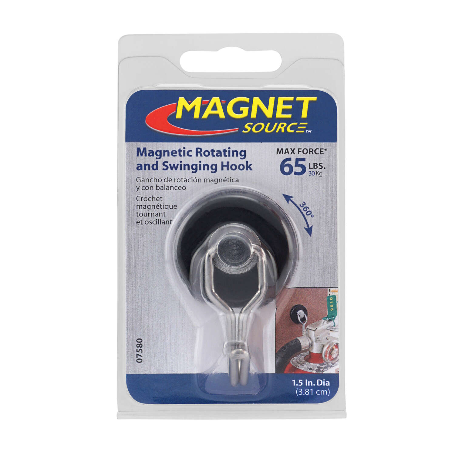 Master Magnetics  The Magnet Source  .29 in. Neodymium  Rotating  65 lb. Rotating Magnetic Hook  Bla