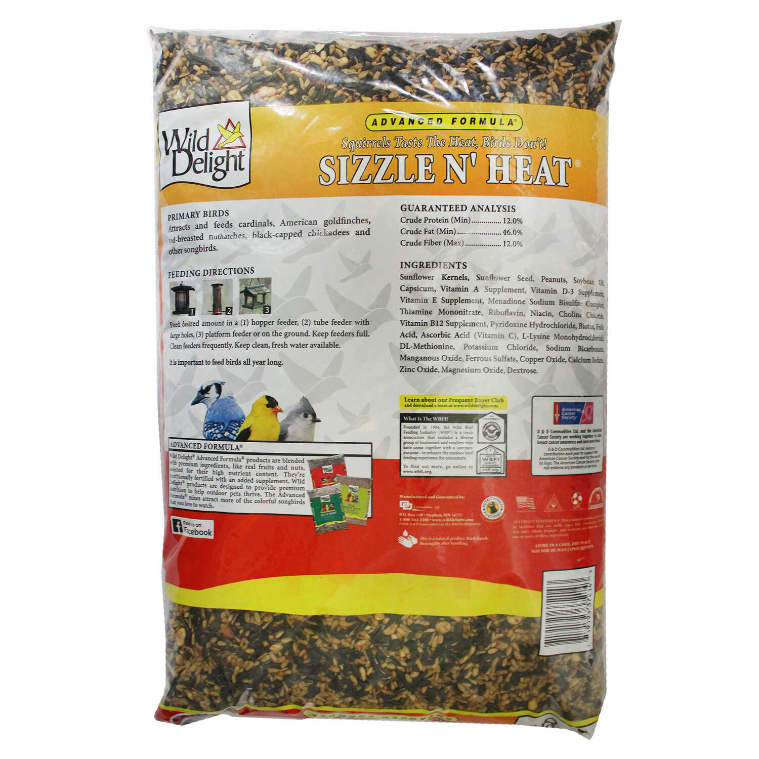 Wild Delight  Sizzle N Heat  Songbird  Wild Bird Food  Sunflower Kernels  14 lb.
