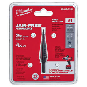 Milwaukee  JAM-FREE  1/8 to 1/2 in. Dia. x 6 in. L Black Oxide  Step Drill Bit  1 pc.
