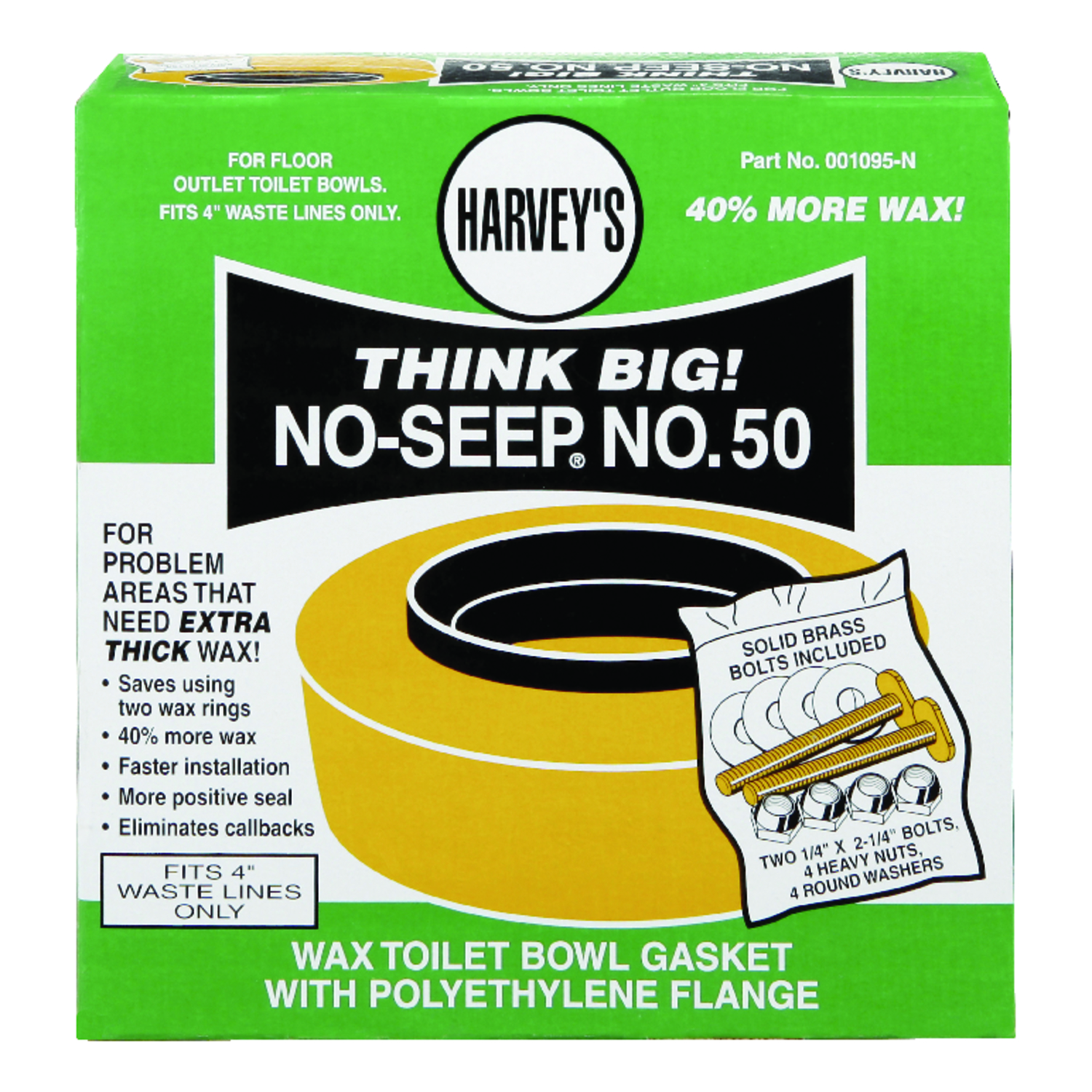 Harveys  4 ID  Polyethylene  Toilet Bowl Gasket with Wax & Flange