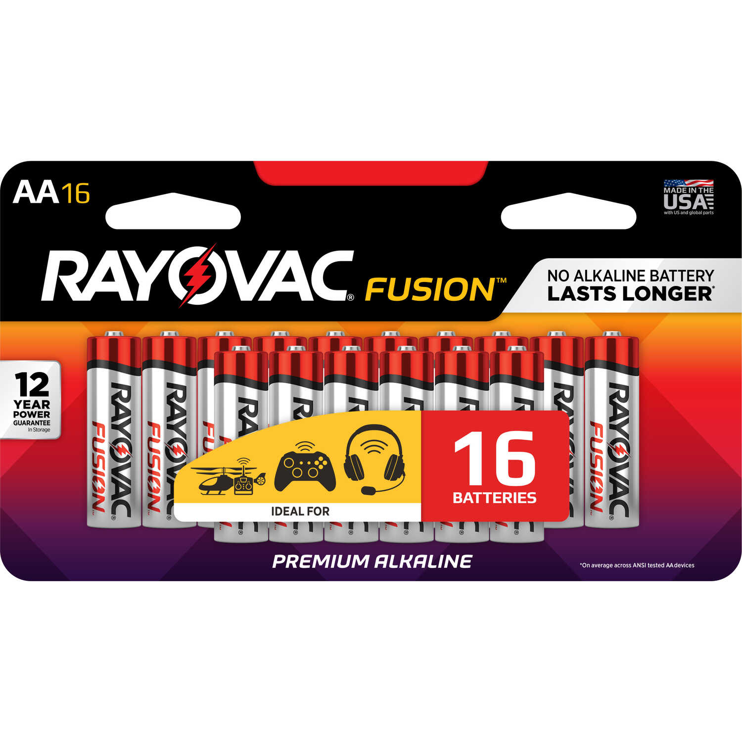 Rayovac  Fusion  AA  Alkaline  Batteries  1.5 volt 16 pk Carded