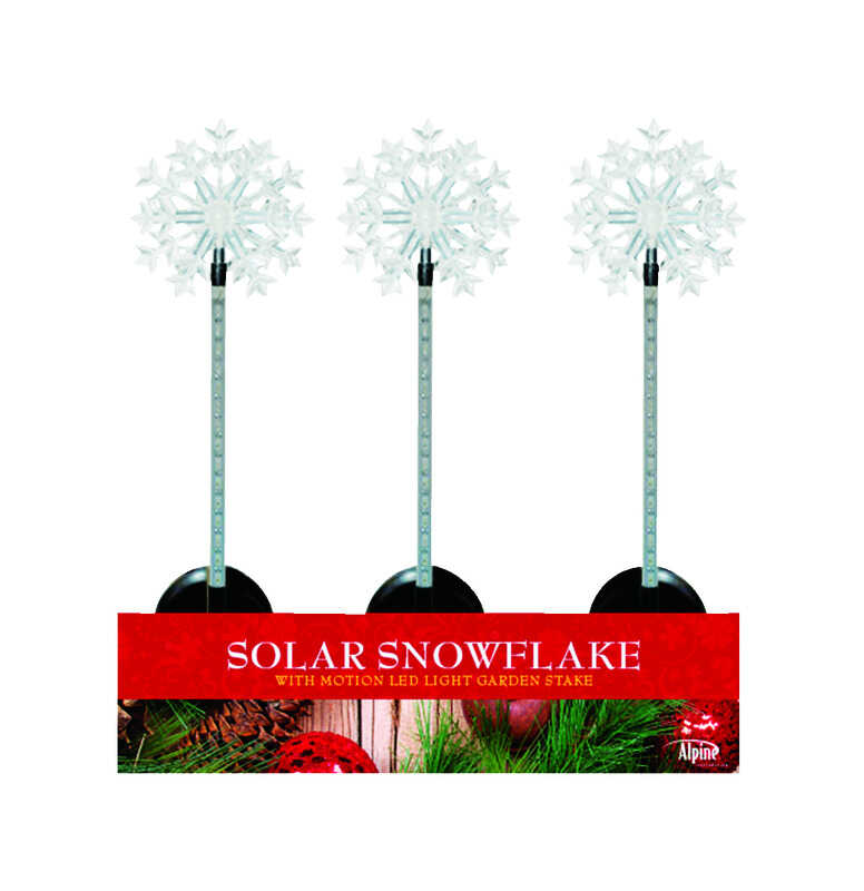 Alpine  Motion Snowflake Stake  Christmas Decoration  White  Acrylic  1 pk