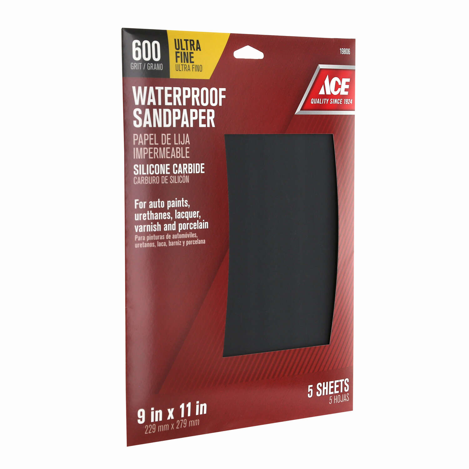 Ace  11 in. L x 9 in. W 600 Grit Silicon Carbide  Waterproof Sandpaper  5 pk