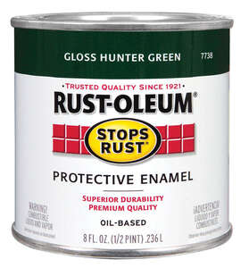 Rust-Oleum  Indoor and Outdoor  Hunter Green  Protective Enamel  0.5 pt. Gloss