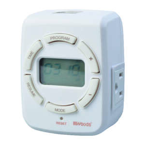 Woods  7 Day Digital Astronomical Timer  White  125 volts Indoor