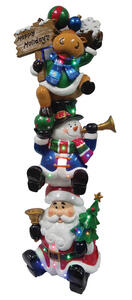 CHT  LED Christmas Character Stack  Christmas Decoration  Red/White/Green  Polyresin  1 pk