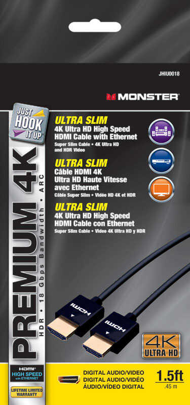 Monster Cable  Just Hook It Up  1-1/2 ft. L High Speed Cable with Ethernet  HDMI