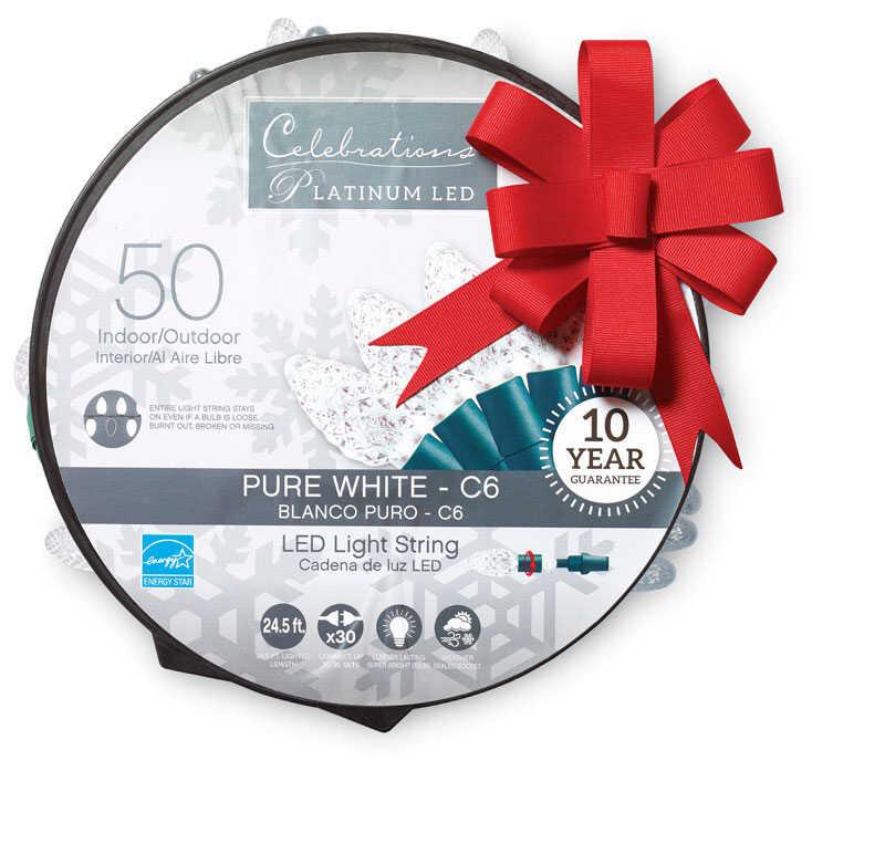 Celebrations Platinum Led C6 Light Set On A Reel Pure
