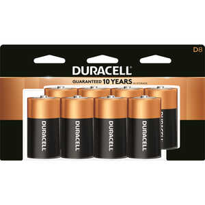 Duracell  Coppertop  D  Alkaline  Batteries  8 pk Carded  1.5 volts