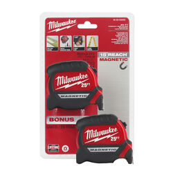 Milwaukee  25 ft. L x 1 in. W Compact  Magnetic Tape Measure  2 pk
