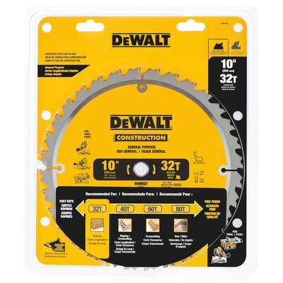DeWalt 10 in. Dia. x 5/8 in. Carbide Circular Saw Blade 32 teeth 1 pk