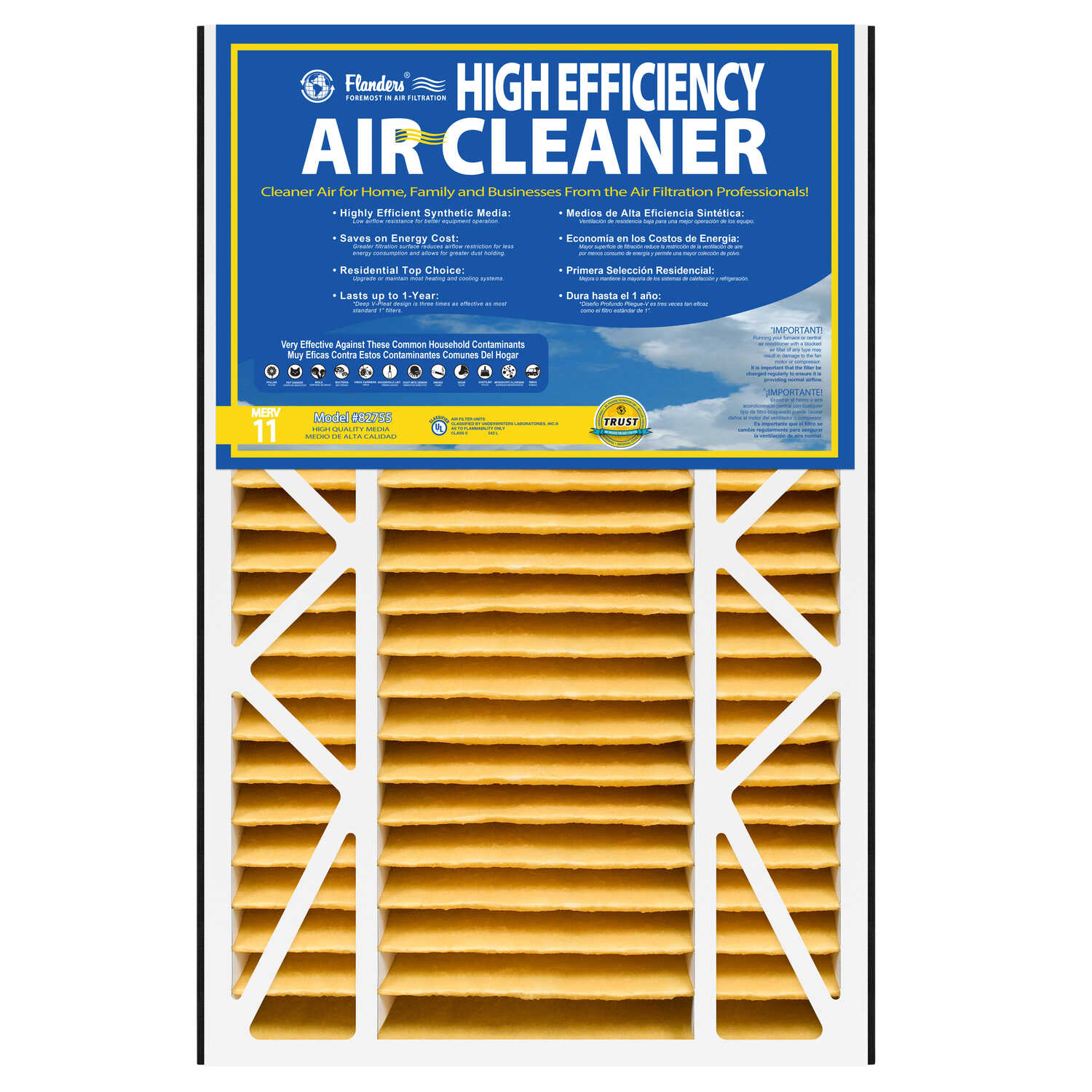 AAF Flanders  High Efficiency  16 in. H x 25 in. W x 5 in. D Air Filter