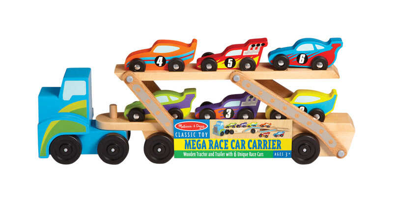 Melissa & Doug  Mega Race Car Carrier  Wood