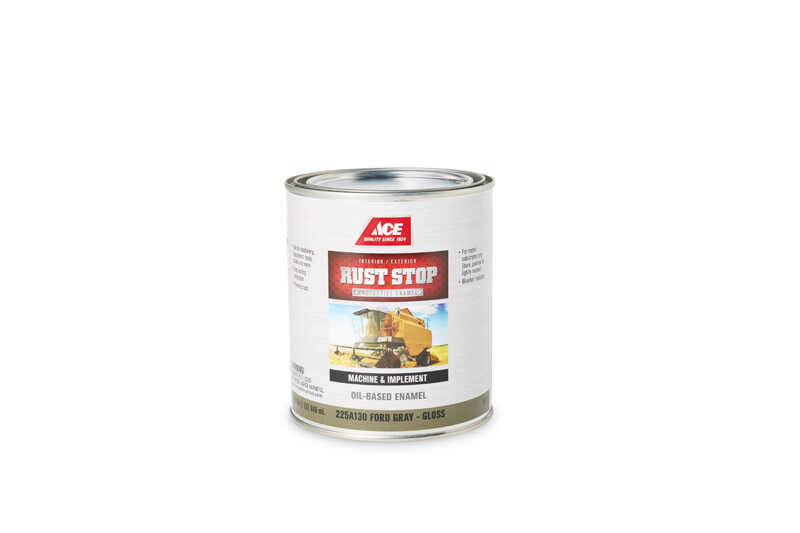 Ace  Rust Stop  Indoor and Outdoor  Gloss  Ford Gray  Rust Prevention Paint  1 qt.