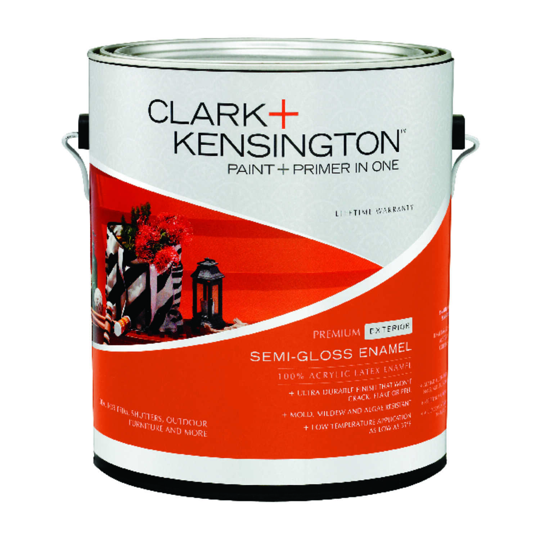 Clark kensington semi gloss designer white acrylic latex house trim paint 1 gal