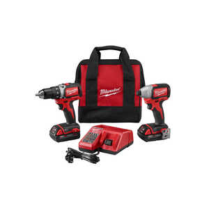 Milwaukee  M18  Cordless  Brushless 2 tool Compact Driver and Impact Driver Kit  18 volt 2 amps