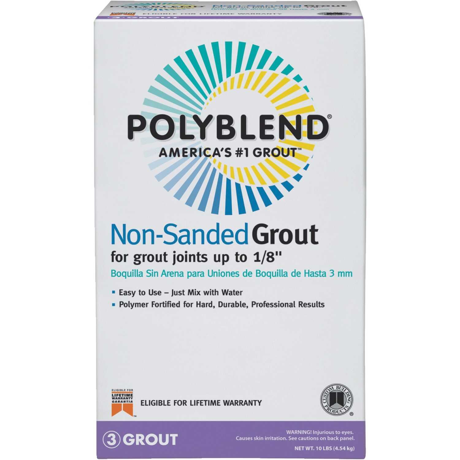 Custom Building Products  Polyblend  Indoor and Outdoor  Snow White  Grout  10 lb.