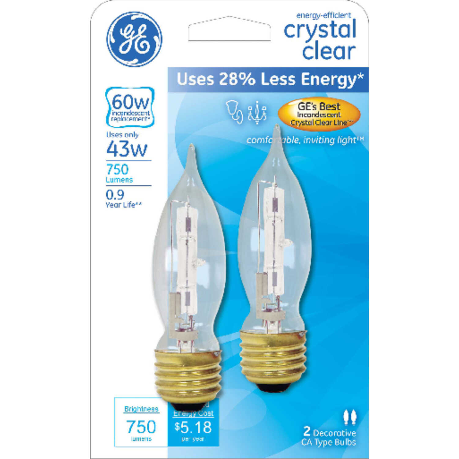 GE Lighting  43 watts A19  Halogen Bulb  750 lumens White  Medium Base (E26)  2 pk Decorative