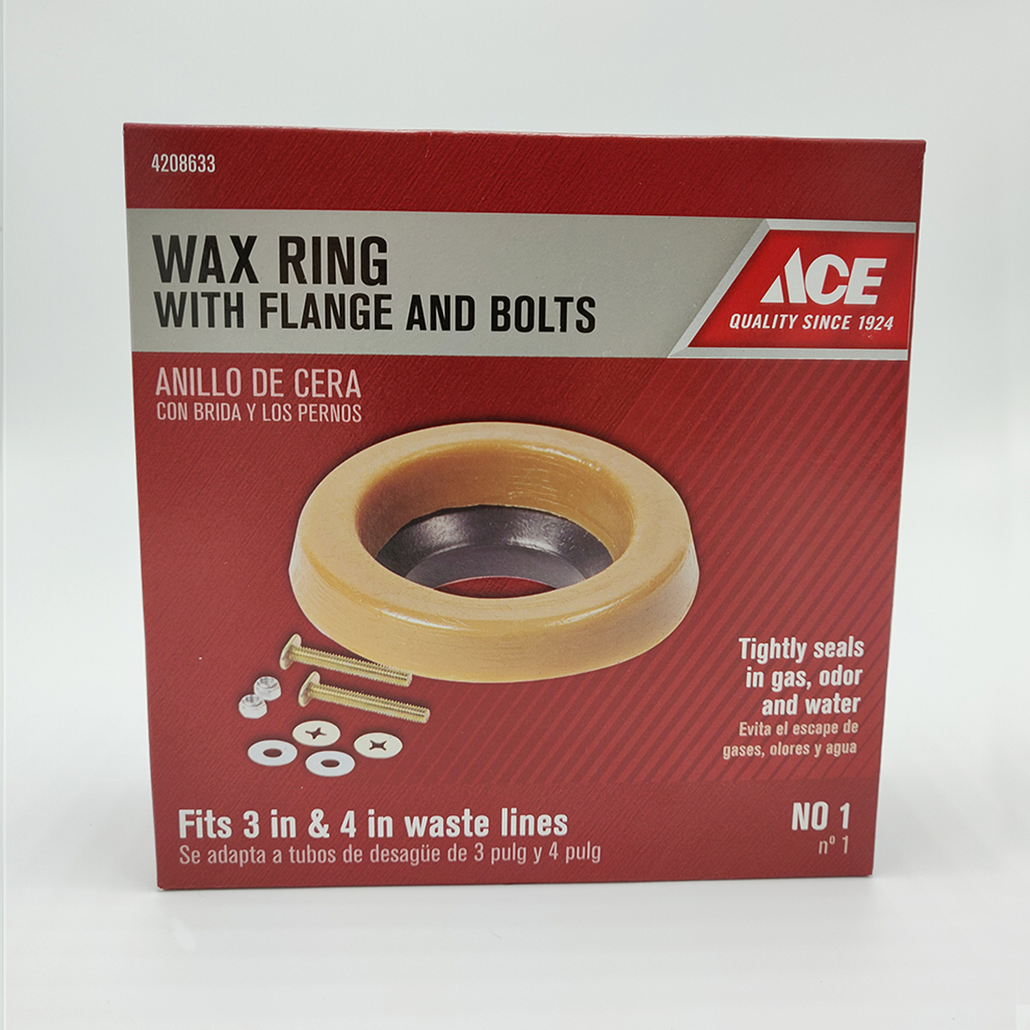 Ace  3 ID  Toilet Bowl Gasket with Wax & Flange  4 OD