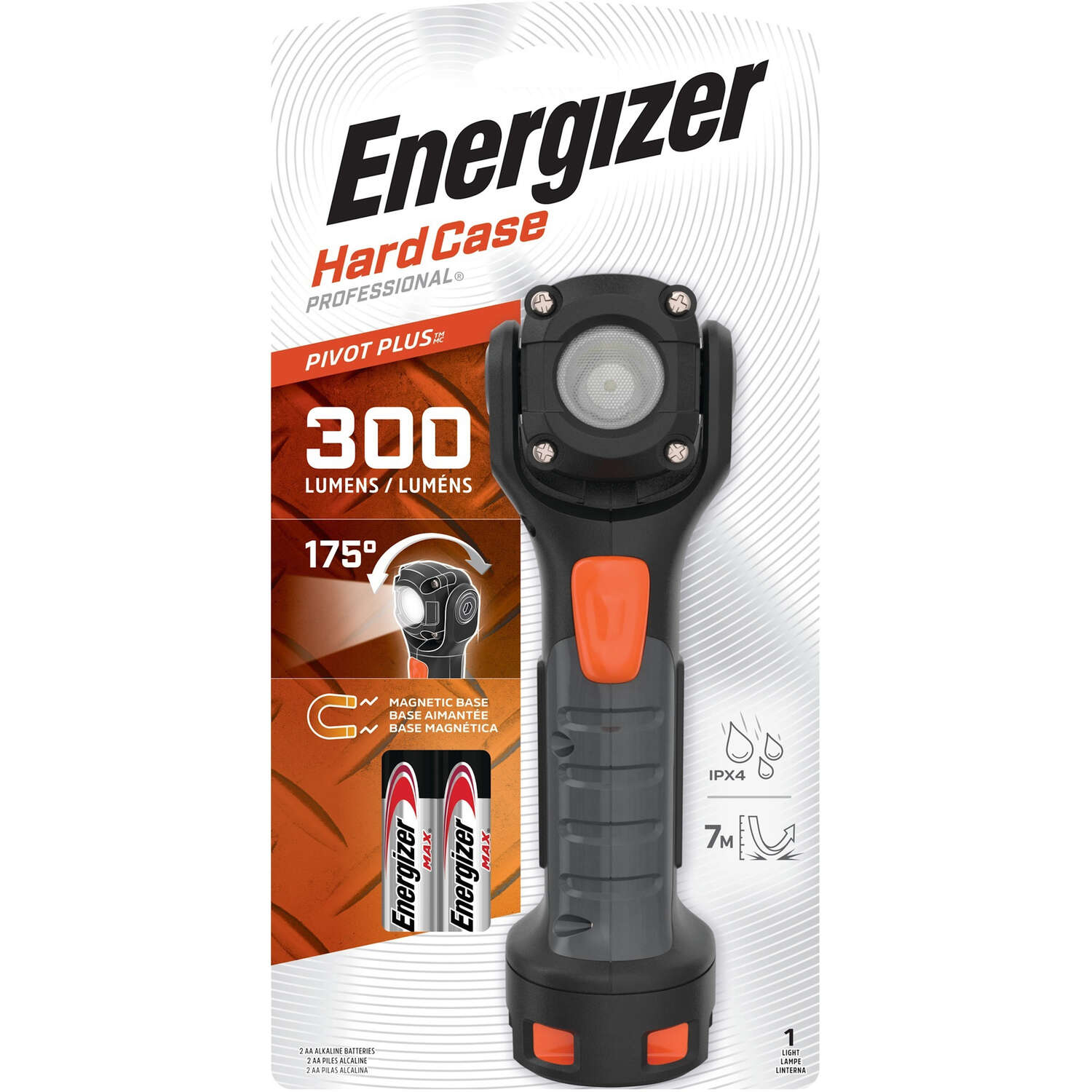Energizer  HardCase  300 lumens Black  LED  Flashlight  AA