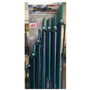 American Posts  85 in. H Powder Coated  Green  steel  U-Post