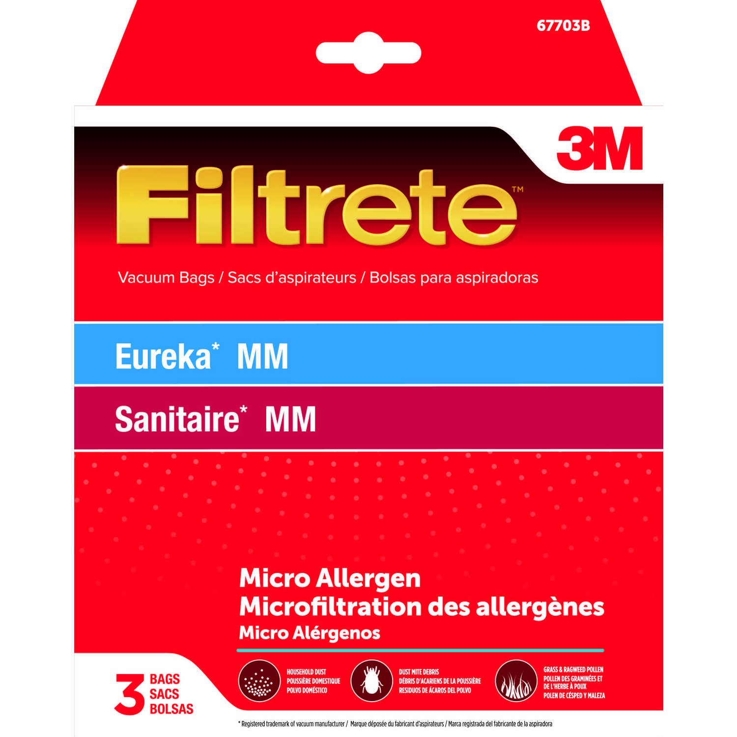 3M  Filtrete  Vacuum Bag  For Eureka/Sanitaire MM Micro Allergen 3 pk