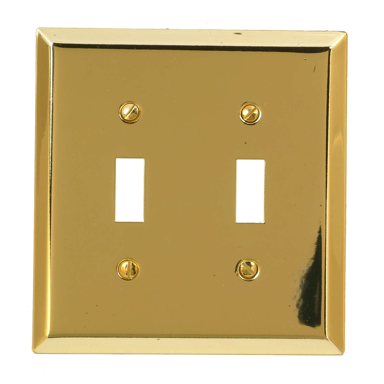 Amerelle Century Polished Brass Brass 2 gang Stamped Steel Toggle Wall Plate 1 pk