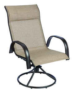 Living Accents  Swivel  Dark Brown  Steel with Sling Fabric  Chair  Newport
