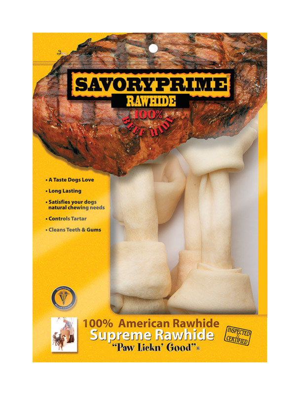 Savory Prime  Large  Adult  Knotted Bone  Natural  9 in. L 4 pk