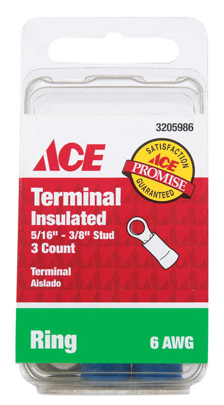 Ace  3 pk 6 AWG Ring Terminal