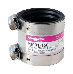 Fernco  Schedule 40  1-1/2 in. Hub   x 1-1/2 in. Dia. Hub  Neoprene Rubber  Shielded Coupling