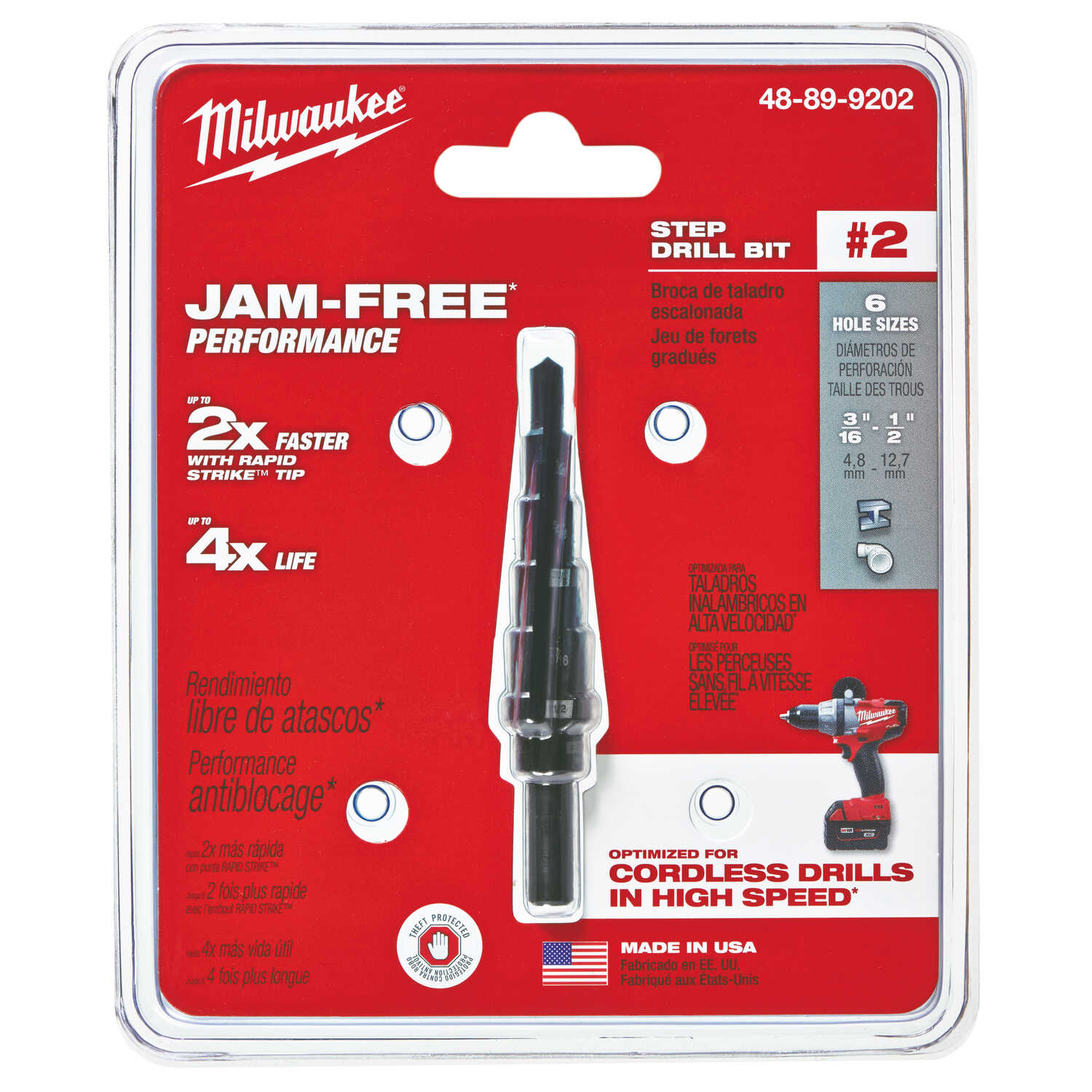 Milwaukee  JAM-FREE  3/16 to 1/2 in.  x 6 in. L Black Oxide  Step Drill Bit  1 pc.