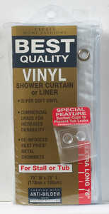 Excell  70 in. H x 78 in. W Solid  Shower Curtain Liner  Frosted