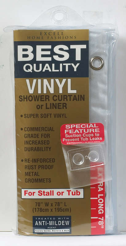 Excell  70 in. H x 78 in. W Frosted  Solid  Shower Curtain Liner  Vinyl