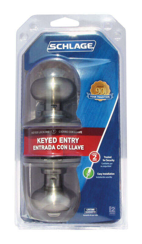Schlage  Plymouth  Satin Brass  Steel  Entry Lockset  ANSI Grade 2  1-3/4 in.