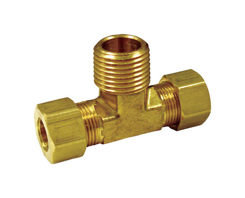 JMF  3/8 in. Dia. x 3/8 in. Dia. x 1/4 in. Dia. Compression To Compression To MPT  Yellow Brass  Tee