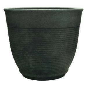 Southern Patio  12.6 in. H x 14.6 in. Dia. Gray  Resin  Multi-Ring  Planter