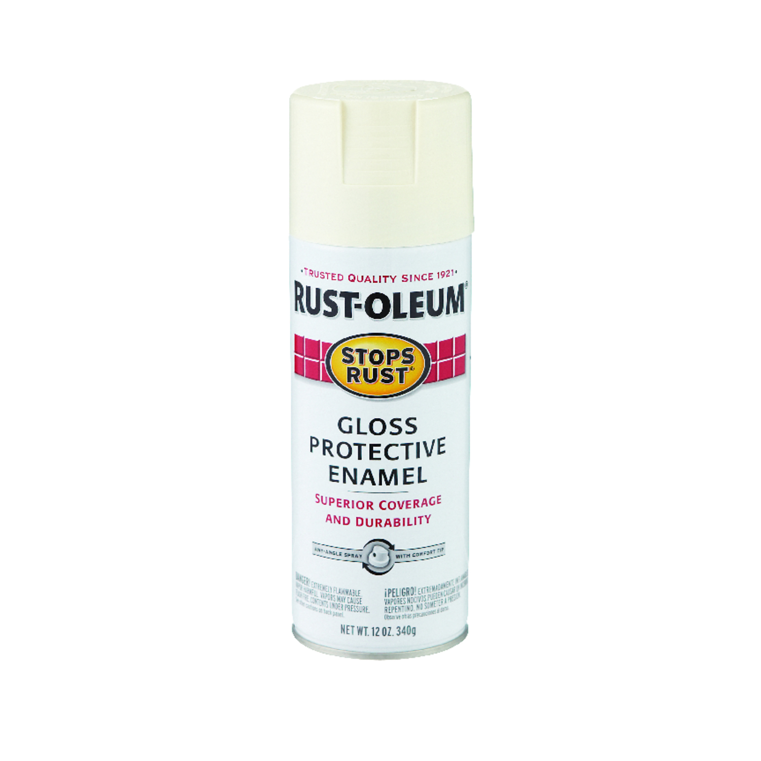 Rust-Oleum  Stops Rust  Gloss  Spray Paint  12 oz. Canvas White