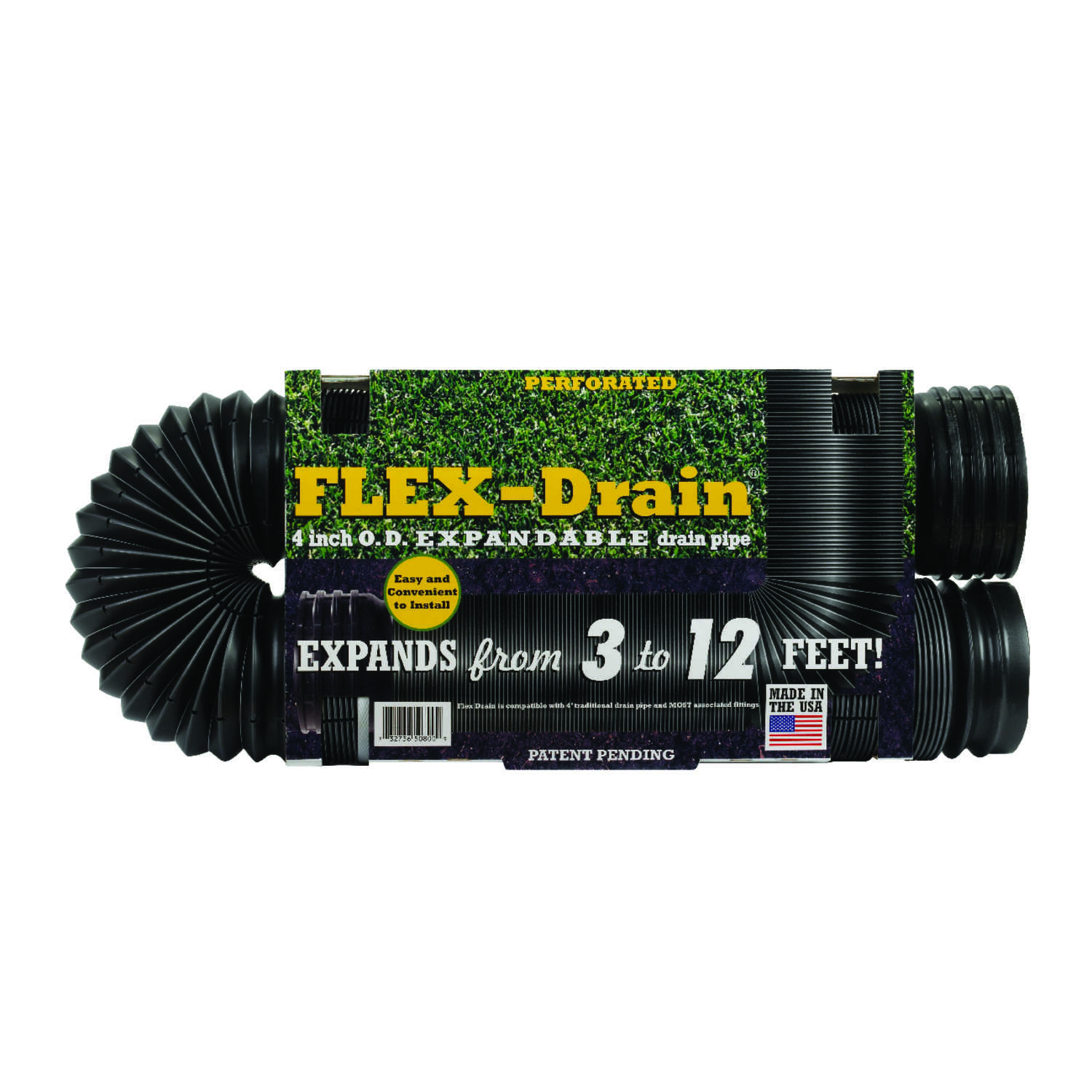 Flex-Drain  4 in. Dia. x 12 ft. L Poly  Drain Pipe