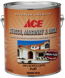Ace  Flat  White  Acrylic Latex  Stucco, Masonry and Brick Paint  Indoor and Outdoor  1 gal.