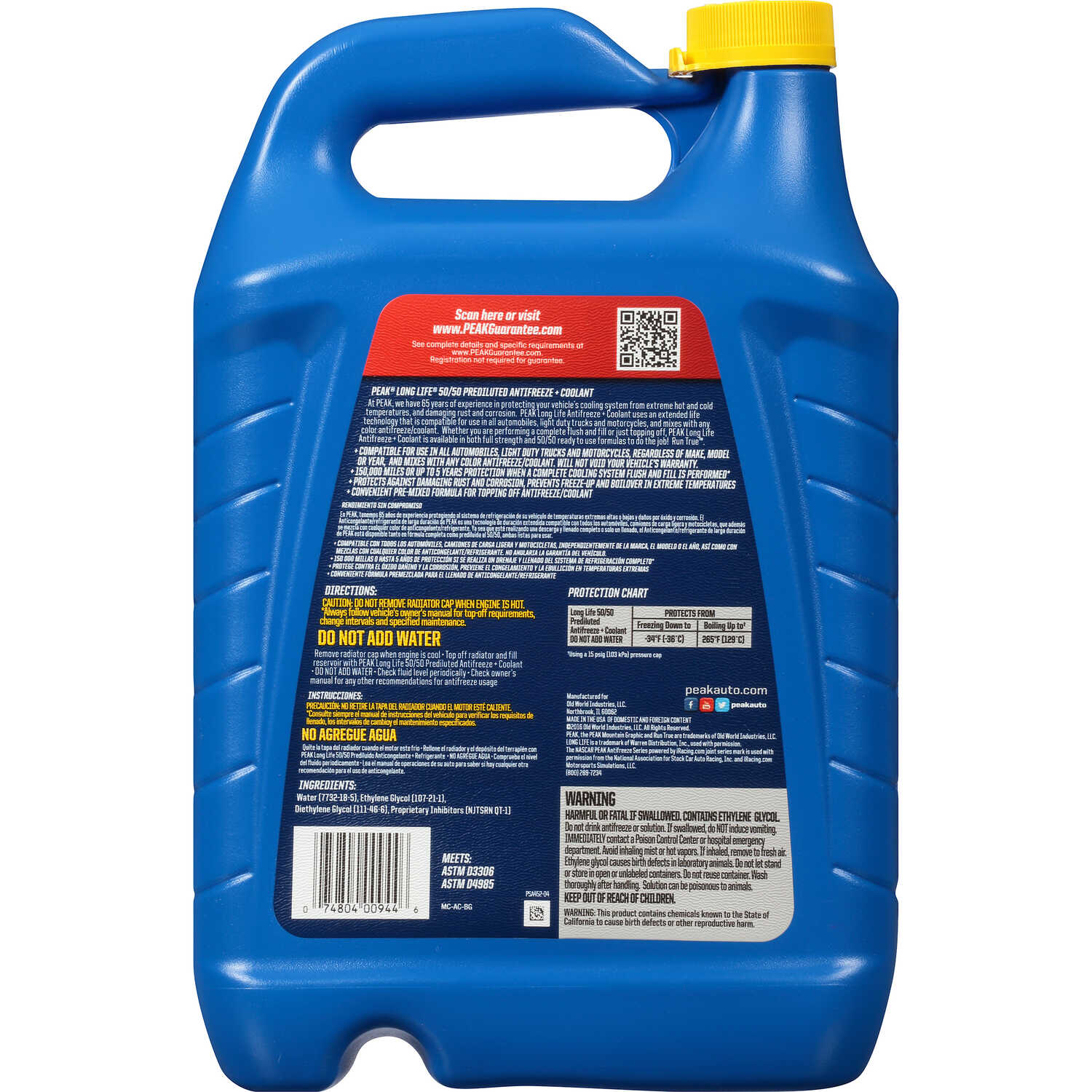 Peak  Long Life  Antifreeze/Coolant  128 oz.